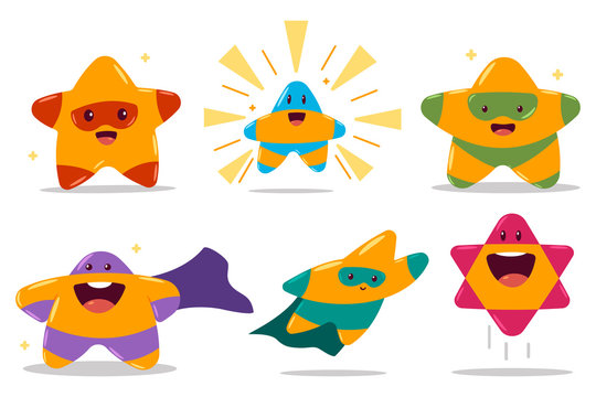 Cute star in superhero costume vector cartoon characters set isolated on a white background.