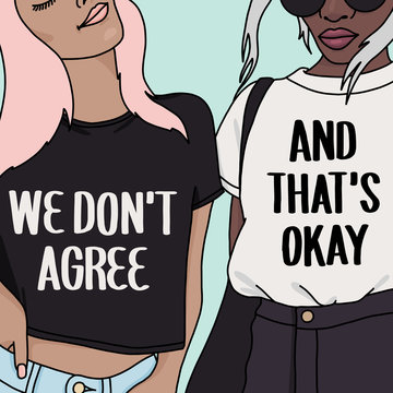 Illustration of two young women wearing graphic matching t shirts