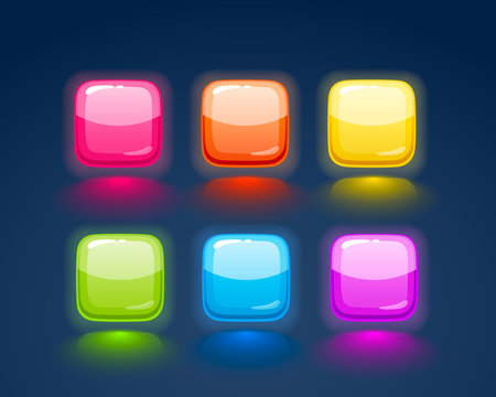Game match icon. Square set in different colors.