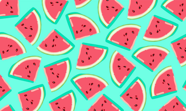 pattern with watermelon slices. Vector illustration. Summer watermelon background.