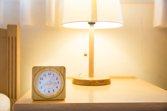 wood clock with lamp