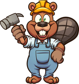 Happy construction beaver holding a hammer clip art. Vector illustration with simple gradients. All in a single layer.