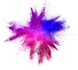 Fototapete - Explosion of colored powder isolated on white