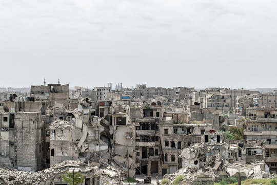 City of Aleppo and destroyed building in Syria 2019