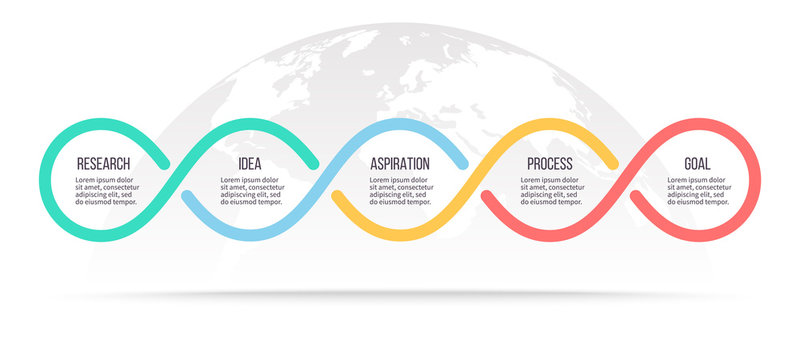 Business infographics. Timeline with 5 steps, options, loops. Vector template.