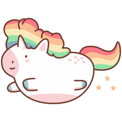 Cute flying unicorn with rainbow hair. Vector cartoon character isolated on a white background.