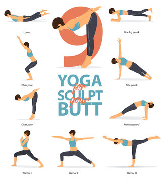 Set of yoga postures female figures Infographic . 6 Yoga poses for Sculpt your butt in flat design. Woman figures exercise in blue sportswear and black yoga pants. Vector Illustration.