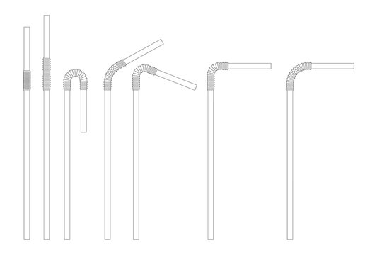 Drinking straw sketch set. Straight and bent plastic cocktail tube. Vector doodle illustration.