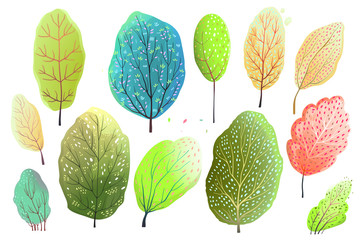 Trees Watercolor Style Collection