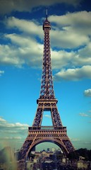 famous Eiffel Tower in Paris with old toned Effect