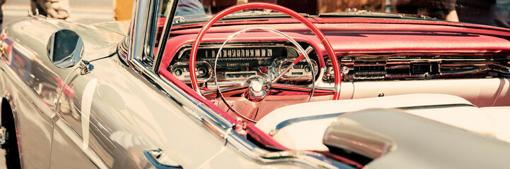 Printed roller blinds Vintage cars Interior of a classic car