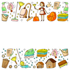 cleaning services company vector pattern