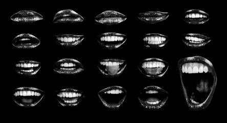 Emotional sexy lips of a female mouth. The passion of a female open mouth is seductive with lipstick. Picture of girl's lips log isolated on black background. Black color with open mouth