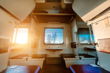 The interior of the car economy class, empty passenger car.