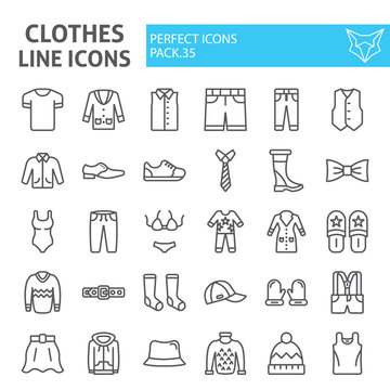 Clothes line icon set, clothing symbols collection, vector sketches, logo illustrations, wear signs linear pictograms package isolated on white background.