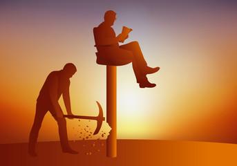 Concept de la révolte avec un leader assis sur son trône qui savoure son pouvoir, tandis qu'un homme cherche à le faire tomber de son piédestal en détruisant sa base pour le destituer.