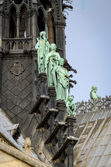 Apostles statues at spire of Notre Dame cathedral