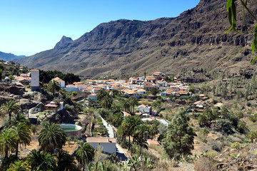 Gran Canaria, view on Fataga village located in the Barranco de Fataga Valley, impressive mountain landscape,  Canary Islands, Spain