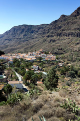 Gran Canaria, countryside around the mountain village of Fataga, white Canarian houses with brown clay roof tiles.  Canary Islands, Spain