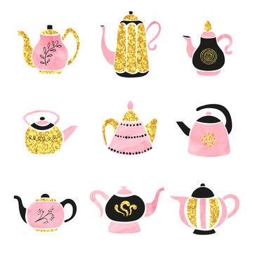 Vector set of cute hand drawn teapots.