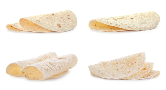 Set of delicious tortillas on white background. Unleavened bread