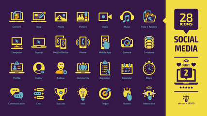 Social media network yellow icon set part 2 on a violet background with global internet digital technology, computer, laptop and mobile device, web blog and content glyph sign.