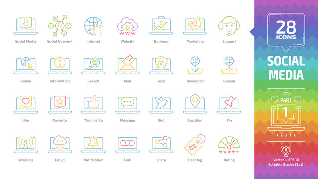 Social media network color outline icon set part 1 with global internet website, digital business and marketing technology, web support editable stroke line pictogram.