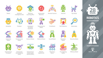 Robotics color icon set with robot industry technology, artificial intelligence, machine learning, automated and remote control, smart chip, autopilot and android glyph symbols.