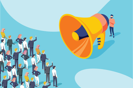 Isometric vector of a businessman or politician with megaphone making an announcement to a crowd of people.