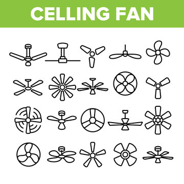 Ceiling Fans, Propellers Vector Linear Icons Set. Electric Indoor Fans Outline Symbols Pack. Air Conditioning, Cooling, Climate Control Technology. Household Appliance Isolated Contour Illustrations