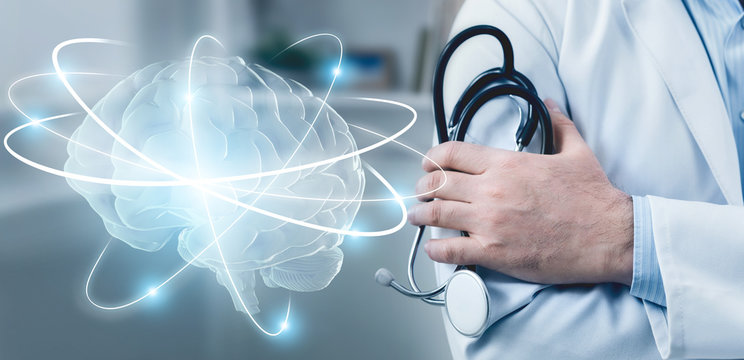 Doctor with stethoscope and brain with wireless connections