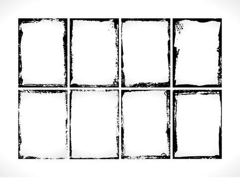 Grunge Textured Frames Collection. Photo frames design template.