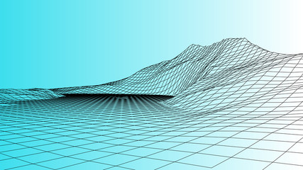 Vector wireframe 3d landscape. Technology grid illustration.