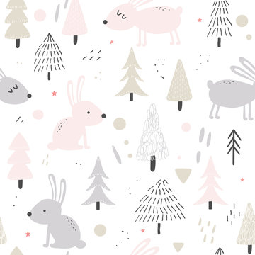Cute hares nature seamless background