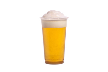 Plastic glass of beer on the white background