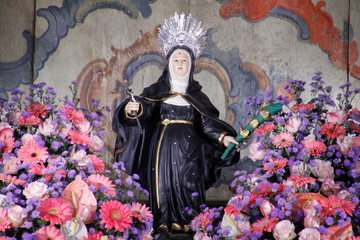 Statue of santa Rita de Cassia in church