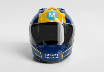 Isolated Motorcycle Helmet on White Mockup