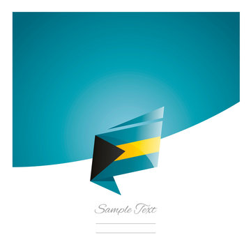 New abstract Bahamas flag origami blue background vector