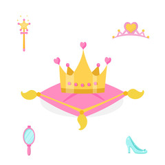Princess accessories vector illustrations set