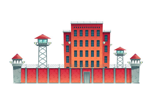Prison, jail building fenced with guard observation posts on high fence with strained barbed wire and searchlights projectors on watchtowers cartoon vector illustration isolated on white background