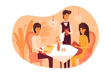 People having dinner at restaurant illustration isolated on white background