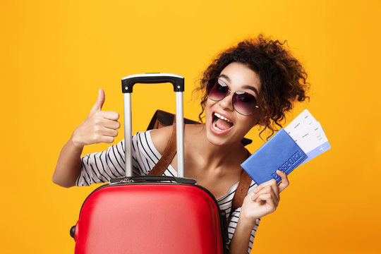 Traveling Abroad, Tourist Showing Thumb Up Over Orange Background