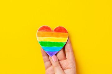 Rainbow color stripes symbol of LGBT gay Pride. Copy space Wall mural
