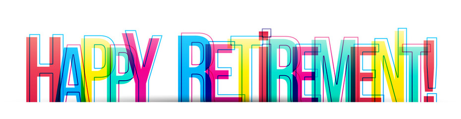 Happy Retirement! colorful text banner card