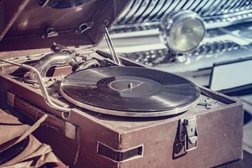 Vintage vinyl record player.
