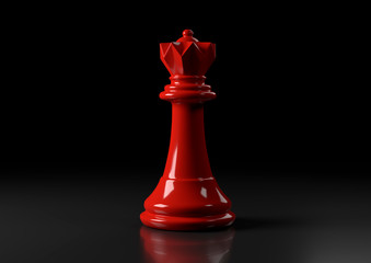 Red queen chess, standing against black background. Chess game figurine. leader success business concept. Chess pieces. Board games. Strategy games. 3d illustration, 3d rendering