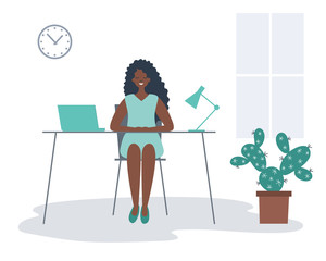 Office worker in the workplace. Young black woman is sitting at the desk in the office room. There is a laptop, a lamp, a clock and a cactus flower in the picture. Funky flat style. Vector