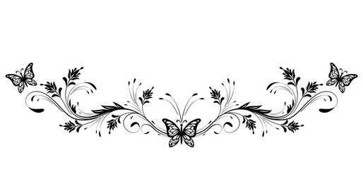Wall Mural - Vintage floral ornament and butterfly for greeting card