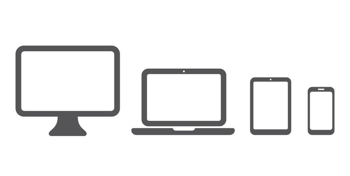 Device icon: Computer, laptop, tablet and smartphone set. Vector illustration