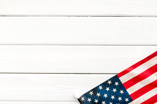 Memoral day of United States of America with flag on white wooden background top view mock up